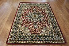 UP TO 8X11 FLORAL BURGUNDY ORIENTAL RUG CARPET  MANY SIZES HEAT SET PILE