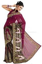 Sari Haute Couture Indien Wafiya Robe Bollywood Mariée Soirée Indienne T36/T44