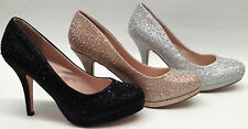 NEW BLOSSOM R46 PROM WEDDING HOMECOMING 3.5 inch heels round GLITTER pump shoes