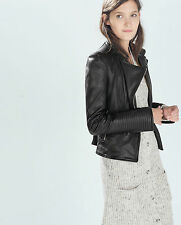 ZARA FAUX LEATHER BIKER JACKET WITH ZIPS XS S M L XL  6 8 10 12 14 BLOGGS FAVE