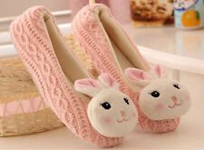 Womens Ladies Cute Rabbit Flat Heels Woolen Family Home Slipper Shoes Pull On SZ