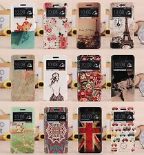 Cute Cartoon Painting Flip wallet Leather Window Case Cover Stand For HTC One M7