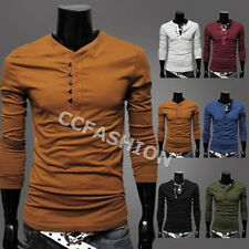 Chic Men's Crew Neck Designed Buttons Long Sleeve Slim Fit Casual T-Shirt M-2XL