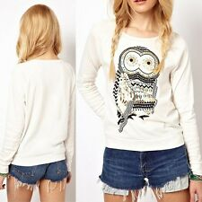 2014 Cute White Animal Owl Print Beading Tops Blouse Pullover Women T-shirts