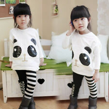 Hot Sale New Kids Toddler Clothes Girls Batwing Style Round Collar Tops Sz3-8Y