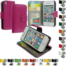 For iPhone 4 4S 4G Color Wallet Leather Case Cover Pouch with Credit Card Slots