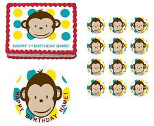 MOD Monkey First Birthday Baby Shower Boy Edible Cake Topper Image - All Sizes!