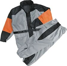 Ladies Black Orange & Gray Rain Suit Reflective Piping Lightweight & Waterproof