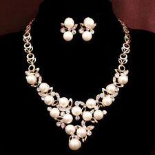 New arrival 14k gold plated necklace+earrings Pearl women's jewelry sets gift
