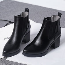 Women's Chunky Thick Heels Shoes Leather Ankle Platform Oxford Casual Boots @@@