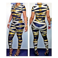 2pcs Sexy Women Print Clubwear Bandage Evening Party Bodycon Dress long sleeve