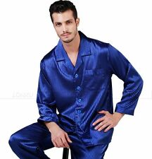 Mens Silk Pajamas Pajama  Pyjamas PJS Sleepwear Set S,M,L,XL 2XL  Long Sleeves