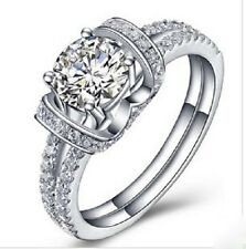 1 CT Brilliant Synthetic Diamond Engagement Ring Genuine Sterling Silver Ring