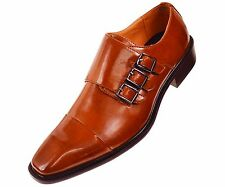 Sio Mens Triple Monk Strap Dress Shoe with Cap-toe in Smooth Tan: Westby Tan-028