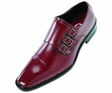 Sio Mens Triple Monk Strap Dress Shoe w/ Cap-toe in Smooth Burgundy: Westby-175