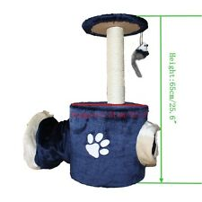 "Cat Tree with Tunnel 11.8*25.6"" Condo Furniture Scratch Post Pet House Navy Blue"