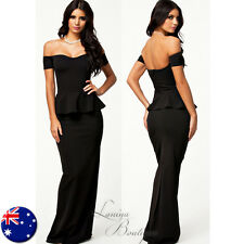 BLACK PEPLUM MAXI DRESS Off-Shoulder Evening Party Long Formal Gown Sz AU 8 -14