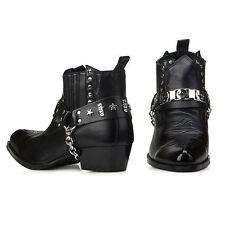 Men High Top Western Rider Ankle Boots Shoes Mens Chained Biker Shoes Leather M