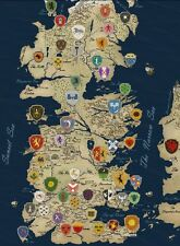 """Game Of Thrones Houses Map Westeros TV Show Fabric Poster 17"""" x 13"""" Decor 55"""