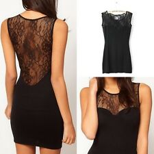 SEXY WOMEN LADIES BLACK FLORAL LACE SLEEVELESS BODYCON PARTY DRESS TOP