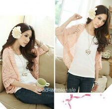 1pc Lady`s Crochet Knits Shawl Batwing sleeve Hollow Out Cardigan Top Sweater