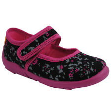 KK Girls Kids Black Canvas Breathable Velcro Pink Flowers Sandals Slippers Shoes