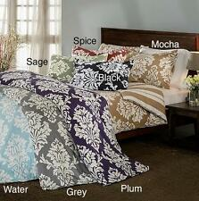 TWIN 100% Cotton Sateen REVERSIBLE DAMASK STRIPE DUVET COVER BED SET 6 Colors