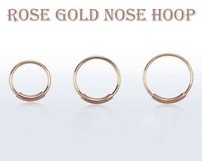 22G 1/4'' 5/16'' 3/8'' Rose Gold Plated Seamless Cartilage Nose Hoop Ring
