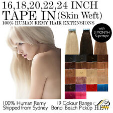 16,18, 20, 22, 24 Inch TAPE IN Skin Weft 100% Human Remy Hair Extensions Sydney