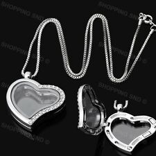Living Memory Floating Charm Heart Glass Locket Silver Pendant and Necklaces 20""