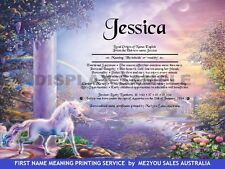 PERSONALISED BIRTHDAY GIFTS -NAME MEANING & ORIGIN CERTIFICATES- UNICORN RAINBOW