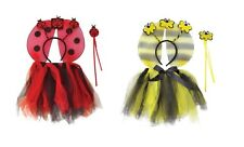 WOMENS BUMBLE BEE OR LADYBIRD TUTU WITH WINGS AND HEADBAND FANCY DRESS ACCESSORY