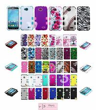 Hard Soft Rubber Rugged Hybrid Armor Impact Case Cover For LG Optimus L90 D415