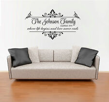 Custom Personalized Family Name Wall Decal Sticker Sign Vintage Wedding Gift