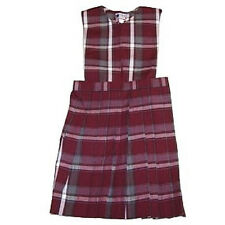 Girls Catholic School Uniform Wine Maroon Gray Plaid #54 Split Top Jumper
