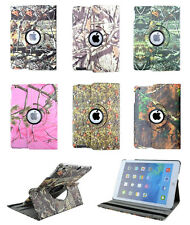 360 Rotate Camo Mossy Tree Branch Leaf Leather Smart Cover Case For iPad Samsung