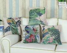 "18"" X 18"" Peafolw Peacock Painting Print Cushion Covers Pillows Shell Home Decor"