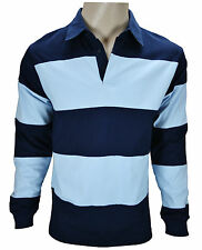 New Mens Rugby Top Shirt Striped Cotton Long Sleeve Casual S M L XL XXL XXXL