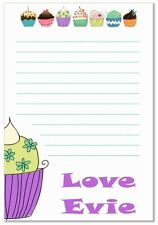 na Personalised NOTELETS writing paper pk 16 & envs, notes, A6 CUPCAKES GIRLS