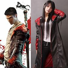 Devil May Cry DMC Pleather Coat Jacket Dante Game Costume Cosplay New