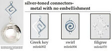 Small round engraved locket, metal design connectors, matching necklace option