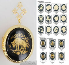Large oval locket, zodiac/astrology cameos, metal connectors, necklace option