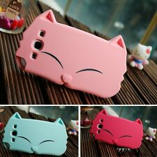 3D Cat Cartoon Animals Silicone Case For Samsung Galaxy Note2/S3/iPhone 4 4s