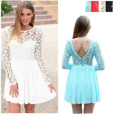 Women Long Sleeve Bandage BodyCon Lace Evening Sexy Party Cocktail MINI Dress