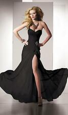 New Black Long Evening Formal Prom Party Ball Gown Bridesmaid Dress Size 6-16