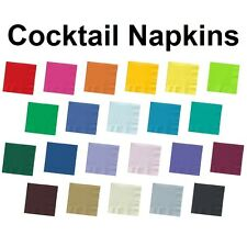50 ct. 2 Ply Beverage Cocktail Bar Party Napkins - Solid Colors Disposable Paper