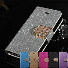 Shiny Leather Magnetic Flip Bling Wallet Cover Case W/Stand For Smart Phones
