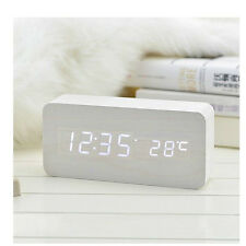 Alarm Clocks with Thermometer,Digital Clock,Wood Clocks LED display for gift 992