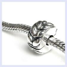 STR Silver Round Leafs Clip Stopper Lock Clasp Bead for European Charm Bracelet
