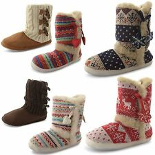 New Ladies Dunlop Nordic Knitted Winter Fashion Fur Lined Slippers Boots Size UK